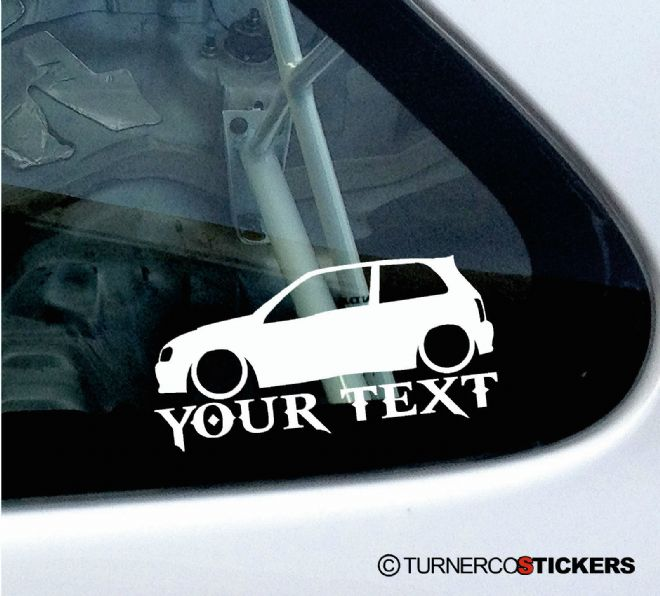 2x Custom YOUR TEXT Lowered car stickers - Toyota Glanza V 90 / starlet GT Turbo.(ep92)